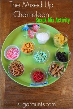Sugar Aunts: The Mixed-Up Chameleon Snack Mix This week's book is The Mixed Up Chameleon by Eric Carle and one of our favorites. We decided to make a mixed up snack mix to go along with the story. And what a fun time this was! Preschool Snacks, Preschool Books, Reptiles Preschool, Kid Snacks, Sensory Activities, Preschool Ideas, Summer Activities, Book Activities, Preschool Activities