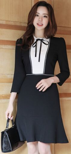 StyleOnme_Romantic Ribbon Tie Frill Neck Dress #black #white #ribbon #dress #elegant #koreanfashion #kstyle #kfashion #springtrend #seoul #datelook