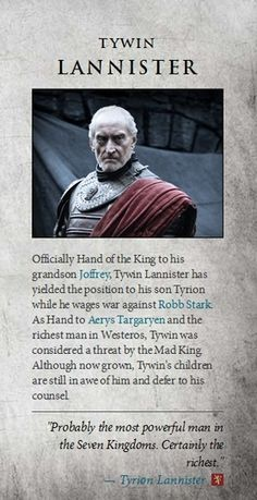Foto von Tywin Lannister für Fans von Game of Thrones. - Game Of Thrones Got Game Of Thrones, Game Of Thrones Quotes, Winter Is Here, Winter Is Coming, Charles Dance, Got Characters, Hand Of The King, A Dance With Dragons, Plus Tv