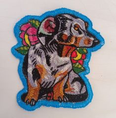 #handembroidered dachsie patch Originals, Moose Art, Patches, Animals, Fictional Characters, Animales, Animaux, Animal, Animais