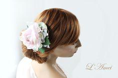 bridal hair clip dusty pink flower hair accessory wedding by LAmei