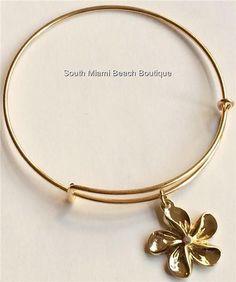 Gold Plumeria Flower Charm Bracelet Beach Caribbean Hawaiian Island USA Seller