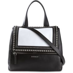 Givenchy medium 'Pandora Pure' shoulder bag (3,980 CAD) ❤ liked on Polyvore featuring bags, handbags, shoulder bags, bolsos, black, studded handbags, black studded shoulder bag, black shoulder bag, colorblock purse and black handbags