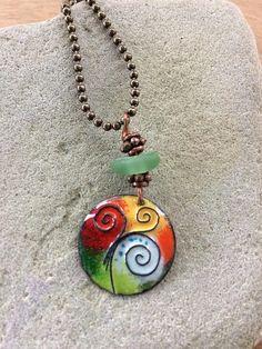 enamel jewelry/enamel necklace/roman glass/boho