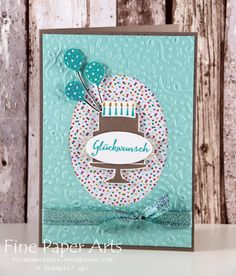 Stampin up - Glückwunschkarte, Greeting card, Stempelset Partyballons, Stempelset Party-Grüße, Stampset Balloon Celebration, Prägeform Konfettispaß, Confetti Textured Impressions Embossing Folder, Stampset Party Wishes - Fine Paper Arts