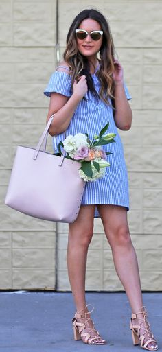 You will fall in love with this blue chambray dress! | Fashion blogger Mash Elle styles a pink blush Chelsea 28 tote, blue striped off the shoulder dress, nude Banana Republic pumps and affordable white cat eye sunglasses from Nordstrom.