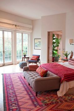 Bohemian color pop #bedroom décor, beds, headboards, four poster, canopy, tufted, wooden, classical, contemporary bedroom, nightstand, walls, flooring, rugs, lamps, ceiling, window treatments, murals, art, lighting, mattress, bed linens, home décor, #interiordesign bedspreads, platform beds, leather, wooden beds, sofabed
