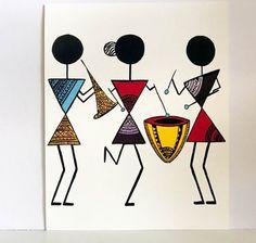 Warli Art Warli prints indian folk art prints home decor image 2 Mandala Art, Design Mandala, Worli Painting, Fabric Painting, Music Painting, Doodle Art Drawing, Art Drawings, Art Indien, Afrique Art