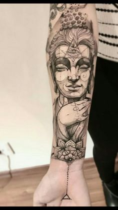 Buddha Tattoo Design, Shiva Tattoo Design, Sketch Tattoo Design, Feather Tattoos, Forearm Tattoos, Body Art Tattoos, Hindu Tattoos, Symbolic Tattoos, Alien Tattoo