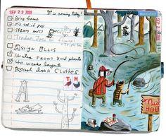 shoulda-woulda-coulda: Nice day at muddy hole Artist Journal, Artist Sketchbook, Book Journal, Art Journals, Visual Journals, Sketchbook Inspiration, Journal Inspiration, Sketchbook Ideas, Moleskine