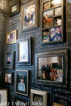 at Just Paint It White Fun chalkboard gallery wall - in a bathroom!Fun chalkboard gallery wall - in a bathroom!