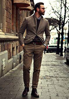 ツイードジャケット×カーゴパンツの着こなし(メンズ) | Italy Web