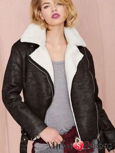 The lapel of plush Artificial leather Cotton Leather clothing