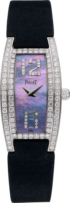 """Timepieces:Wristwatch, Piaget Ref. 54035 Lady's """"Limelight"""" White Gold, Diamond &Mother-of-Pearl Wristwatch. ... Image #1"""