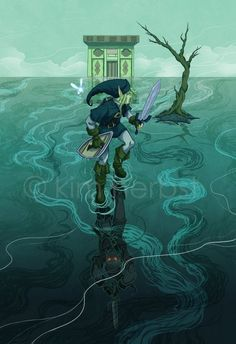 Illustration featuring Link from Legend of Zelda:Ocarina of time in the frustrating Water Temple against Dark Link. Illustration appeared in a Gallery Show as well as on t-shirts. The Legend Of Zelda, Legend Of Zelda Breath, Link Zelda, Creepypasta, Video Game Art, Video Games, Geeks, Manga Anime, Link Art