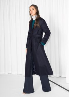 & Other Stories image 2 of Long Waisted Wool Coat in Navy