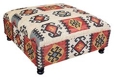 One Kings Lane - Ottoman Empire - Camilla Kilim Upholstered Ottoman. The sale will end long before I can spend $500 on a ottoman but I love the way this looks and think it could fit into our eclectic, kid-friendly home