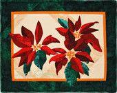 Quilt Art - Poinsettia Applique Original Wall Hanging Quilt