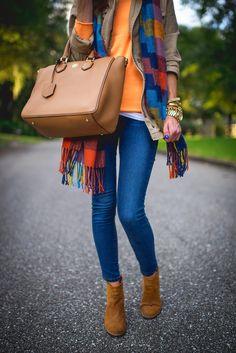 Orange sweater plaid scarf brown vest cardi jeans tan purse brown ankle boots