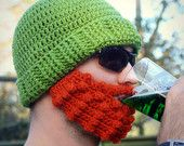 Leprechaun Crochet Beard Hat Adult other sizes 3-6 months, 6-12 m, 1-2 toddler, 2T & up 36 Custom colors available