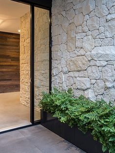 Residential landscape garden design, swimming pool landscape design by award winning landscape architect Steve Taylor, Melbourne Victoria. House Entrance, Entrance Doors, Modern Entrance, Front Doors, Exterior Design, Interior And Exterior, Wall Exterior, Stone Feature Wall, Flur Design