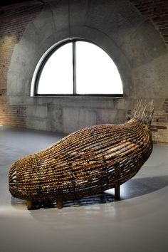 Chen Zhen, Cocon du Vide, 2000. Chinese abacus, Buddhist rosary beads, chinese chair, metal. 90 x 70 x 220 cm.   Punta della Dogana: In Praise of Doubt