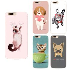 Cute Cartoon pattern Soft Silicon Back Cover For Apple Iphone 7 case  5.5  Animal lazy french bulldog cat Coque Phone Cases
