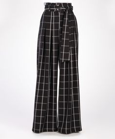 Look what I found on #zulily! Black Windowpane Wide-Leg Trousers #zulilyfinds