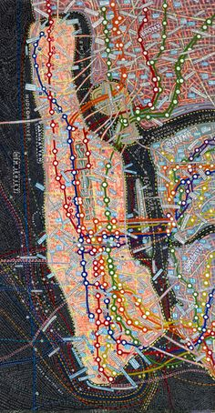 Manhattan by Paula Scher: Paula, a self-taught designer renowned for her typography skills, began painting her colorful and stylized maps back in the early '90s.  The maps depict regions, cities, and continents from all corners of the globe and feature a mighty use of typography. by Andrew Rosinski, dinca.org #Maps #Typography #Paula_Scher #Manhattan
