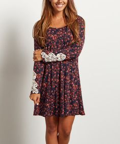 Look what I found on #zulily! Navy Blue Floral Crochet-Sleeve Tunic Dress #zulilyfinds