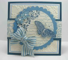 The colors in this card are Not Quite Navy, Marina Mist, Bashful Blue and Very Vanilla. Gorgeous!