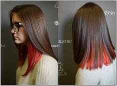 163 hot red hair color shades to dye for red hair dye tips & ideas page 5 Hair Color Streaks, Hair Color Shades, Hair Dye Colors, Red Hair Color, Hair Highlights, Peekaboo Hair Colors, Undercolor Hair, Medium Hair Styles, Short Hair Styles