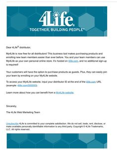 To all 4Life distributors, Check this out. You now can have your own hosted website for free as a Distributor with 4life. That's just another simple reason why 4life is a great company! Pass on the good news. Follow the directions to log into this exactly. You will need to know your distributor ID to do this.
