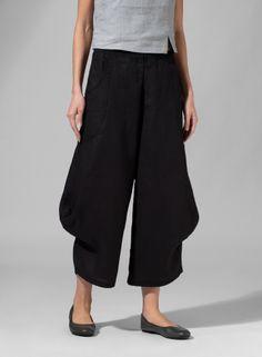 Linen Flared Leg Crop Pants White