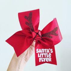 Santa's Little Flyer Reindeer Jingle Bell Christmas Cheer Bow