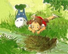 Ilustración original a acuarela de 'Mi vecino Totoro' (Hayao Miyazaki, 1988)