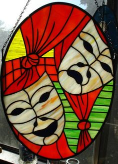 Oh Comedy & Tragedy - Stained Glass Suncatcher -