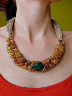 Necklace Natural  Baltic Amber Agate  Linen  by PaintingJewelry, $14.90