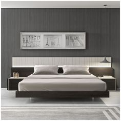 The Porto premium bedroom features an elegant design beautifully mixing a natural light grey lacquer finish which looks striking against the natural wenge wood veneer. The headboard shows off uniquely ...