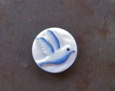 Glass, Opaque Button, Dove of Peace, Picasso Style, Art Button