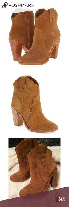 """Joie Studded Suede Ankle Boots Sz 36.5 New Size UK 36.5 or US 6. Color Whiskey Suede. Leather including sole. Shaft approximately 7.5"""" from arch. Heel approximately 3.5"""". Boot opening approximately 11"""" around. Compact Western boot with stacked block heel and pull handles at side. Cushioned leather footbed. Doesn't come in box. Minor flaws: scuff at the bottom of the left ankle (see pic 7), one line scratch on the outer right part (see pic 8). Both are hardly noticeable especially when worn…"""