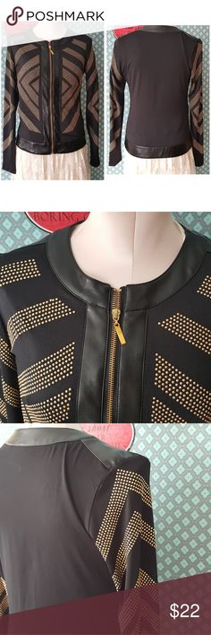 Black and gold studded blazer jacket sz med Black and gold studded blazer jacket sz med  Made of faux leather and a nice light stretch material  The studded design is very flattering  From what I can see all little studs are in place     Pre owned condition *******All items are in pre owned condition, Nothing, unless noted , is brand new **** please ask questions For sale in my posh closet  LINK IN MY BIO carmin Jackets & Coats Blazers