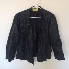 Leather Jacket Hey ladies! So I'm selling this leather jacket from Charlotte Russe. Worn it a couple times but still in good condition. No tears or snags! It's black & size L. All zippers work great. Charlotte Russe Jackets & Coats