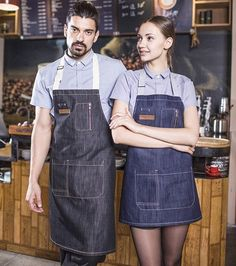 "Long Denim ""Latte Art"" Apron 