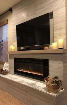 Modern Fireplace Decor, Home Fireplace, Fireplace Remodel, Living Room With Fireplace, Fireplace Design, Fireplace Ideas, Modern Fireplaces, Fireplace Inserts, Tv Stand With Fireplace