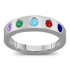 Belt Mother's Ring with 2-6 Round Stones #jewlr