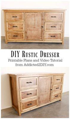 DIY Rustic Dresser w/ Free Building Plans – Addicted 2 DIY - diy furniture plans Diy Dresser, Diy Furniture Plans, Rustic Diy, Dresser Plans, Rustic Dresser, Diy Woodworking, Wood Diy, Diy Furniture Projects, Rustic Woodworking