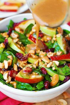 Apple Cranberry Spinach Salad with Balsamic Vinaigrette ~~ L O V E D this salad. this is must make!