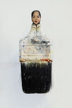 Artist Transforms Old Paintbrushes Into Delicate Ladies - (There are several of these on the page. I like them so much I'm pinning all of them.)