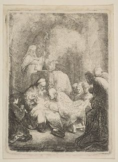 The Circumcision: Small Plate Rembrandt (Rembrandt van Rijn)  (Dutch, Leiden 1606–1669 Amsterdam) Date: ca. 1630 Medium: Etching and drypoint Classification: Prints Credit Line: Gift of Mr. and Mrs. Daniel B. Fuller, 1957 Accession Number: 57.602.4